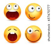 smiley emoticons set. yellow... | Shutterstock .eps vector #657670777