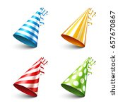 party shiny hat with ribbon.... | Shutterstock .eps vector #657670867