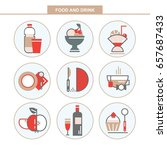 set of vector flat icons. food... | Shutterstock .eps vector #657687433