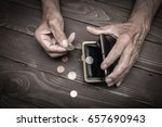 an elderly person holds the... | Shutterstock . vector #657690943