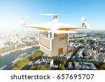 drone flying with a delivery... | Shutterstock . vector #657695707