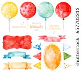watercolor colorful collection... | Shutterstock . vector #657702313