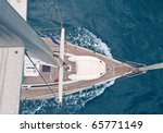 top view of sailing boat with... | Shutterstock . vector #65771149