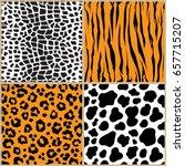 set animal pattern texture... | Shutterstock .eps vector #657715207