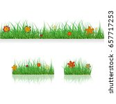 set green grass borders with...   Shutterstock .eps vector #657717253