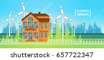 house building with wind... | Shutterstock .eps vector #657722347