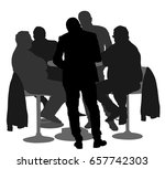 many people sitting and talking ... | Shutterstock .eps vector #657742303