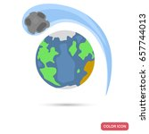 earth and comet color flat icon ... | Shutterstock .eps vector #657744013