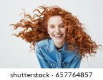 portrait of beautiful cheerful... | Shutterstock . vector #657764857