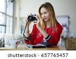 charming attractive blonde... | Shutterstock . vector #657765457