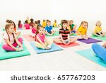 kids doing butterfly exercise... | Shutterstock . vector #657767203