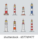 set of different lighthouse.... | Shutterstock .eps vector #657769477