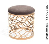 Golden Metal Stool Isolated On...