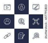 set of 9 search outline icons... | Shutterstock .eps vector #657791803