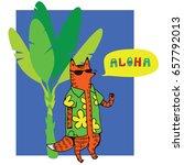 fox character speaking aloha.... | Shutterstock .eps vector #657792013