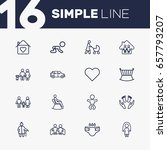 set of 16 family outline icons... | Shutterstock .eps vector #657793207