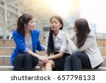 businesswoman stressed and... | Shutterstock . vector #657798133