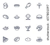 Set Of 16 Dish Outline Icons...