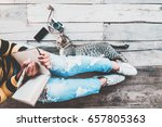 hipster lifestyle   girl in... | Shutterstock . vector #657805363