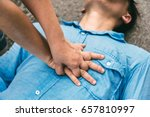 Small photo of First Aids Emergency CPR on Heart Attack Man , One Part of the Process Resuscitation