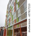 Small photo of Colorful modern architecture residential midrise building in downtown Lima Peru