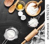 baking ingredients. bowl  eggs  ... | Shutterstock . vector #657821173