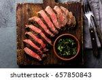 medium rare sliced beef served... | Shutterstock . vector #657850843