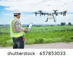 technician farmer use wifi... | Shutterstock . vector #657853033