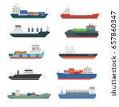 cargo vessels and tankers... | Shutterstock .eps vector #657860347