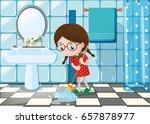 little girl mopping wet floor... | Shutterstock .eps vector #657878977