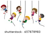 many kids climbing up the rope... | Shutterstock .eps vector #657878983