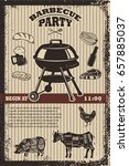 barbecue party flyer template.... | Shutterstock .eps vector #657885037