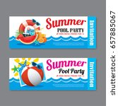 summer pool party invitation... | Shutterstock .eps vector #657885067