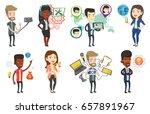 caucasian man making selfie... | Shutterstock .eps vector #657891967