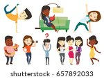 asian man showing his skills in ... | Shutterstock .eps vector #657892033
