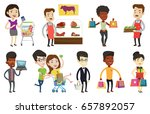 caucasian woman standing near... | Shutterstock .eps vector #657892057