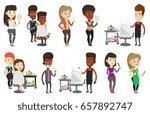 african american barber cutting ... | Shutterstock .eps vector #657892747