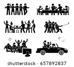 happy friends hanging out... | Shutterstock . vector #657892837