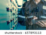 double exposure of engineer or... | Shutterstock . vector #657893113