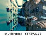 double exposure of engineer or... | Shutterstock . vector #657893113