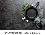 empty cast iron frying pan on... | Shutterstock . vector #657913177