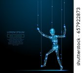polygonal puppet. vector mesh... | Shutterstock .eps vector #657922873