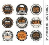 retro vintage quality badges...   Shutterstock .eps vector #657948877