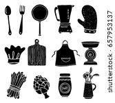 cooking set. kitchen utensil ... | Shutterstock .eps vector #657953137
