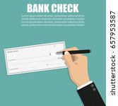 businessman hand holding pen... | Shutterstock .eps vector #657953587