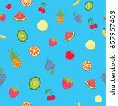 hawaiian seamless pattern with... | Shutterstock .eps vector #657957403