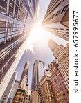 multiple skyskrapers in the sun ... | Shutterstock . vector #657995677