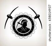 vintage emblem of the mining...   Shutterstock .eps vector #658014937