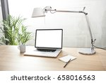a notebook with coffee cup ... | Shutterstock . vector #658016563