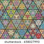 vector patchwork quilt seamless ... | Shutterstock .eps vector #658027993
